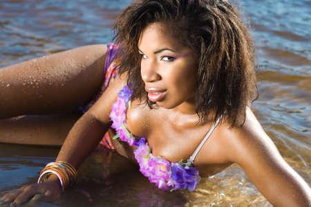 beautiful woman at the sea photo