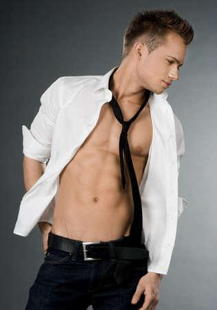 attractive businessman in white shirt photo