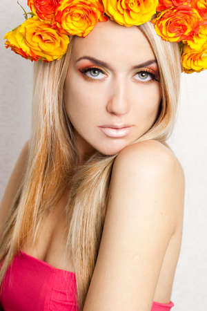 beautiful fashionable woman with roses photo