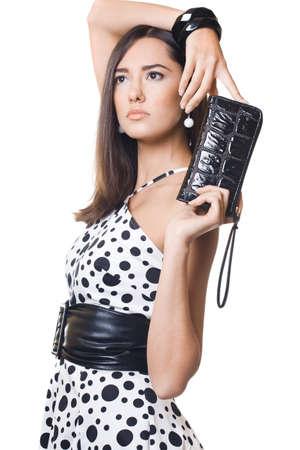 fashionable woman with black handbag photo