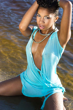 beautiful woman at the beach photo