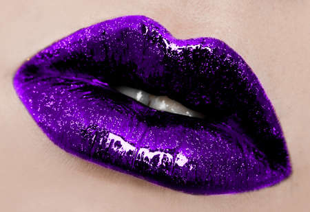 close-up of beautiful womanish lips photo