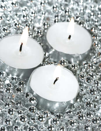 white candles with silver decoration balls Stock Photo - 7964339