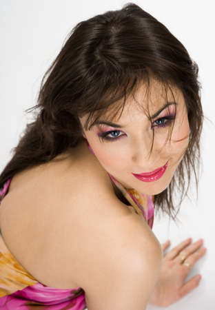 beautiful Asian woman in pink dress Stock Photo - 7953660