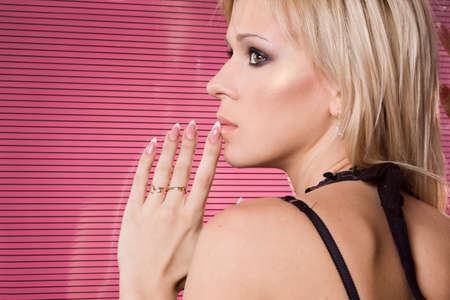 nice woman on pink background Stock Photo - 7953704