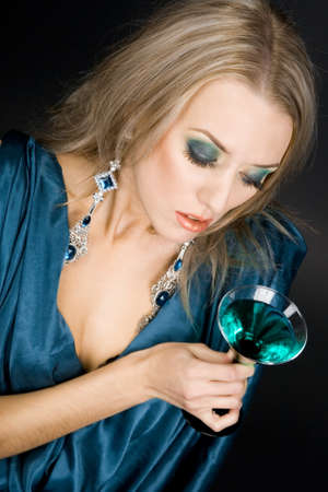Beautiful woman with glass of cocktail Stock Photo - 7953761