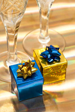 gift boxes with glasses of champagne Stock Photo - 7964403