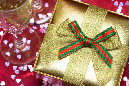 gift box with glasses of champagne Stock Photo - 7964480