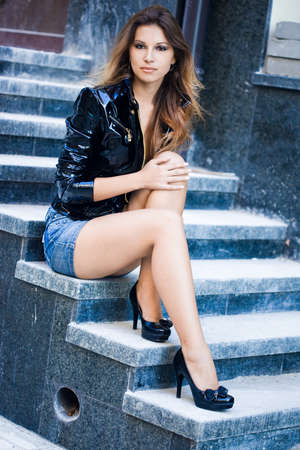 Beautiful woman in a leather jacket Stock Photo - 7953776