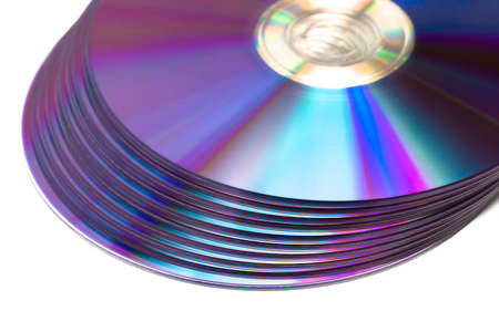 stack of Cd or DVD roms isolated on white background photo