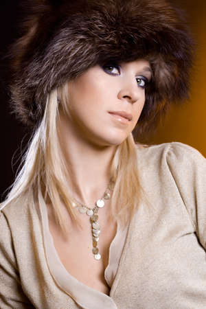 nice woman in a fur hat Stock Photo - 7953884