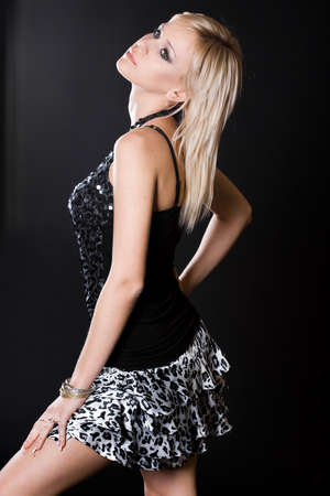nice woman on black background Stock Photo - 7953812