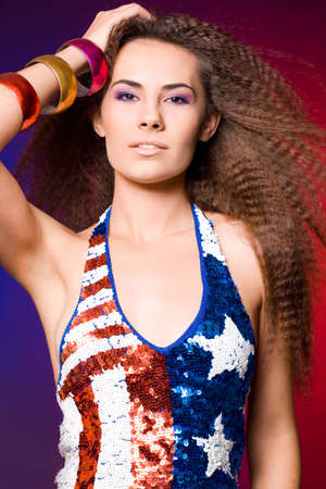 American woman in colored background photo