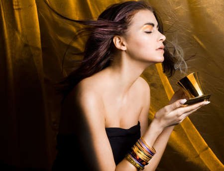 aromatic: Beautiful woman with cup of coffee