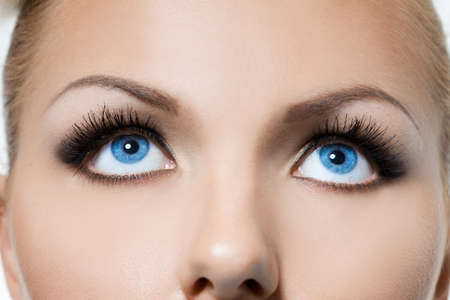 close-up of beautiful womanish eyes photo