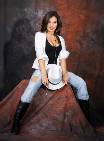 girl with a cow-boy hat photo