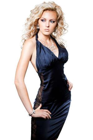 beautiful fashionable woman on white background Stock Photo