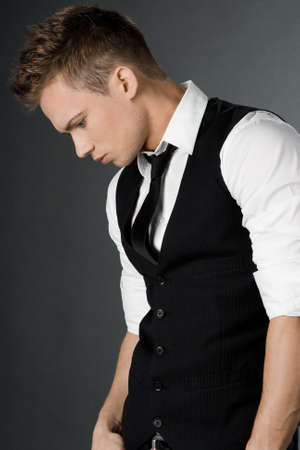 attractive businessman in black waistcoat  photo