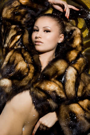 beautiful woman in a fur coat Stock Photo - 8263706