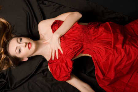 pretty girl in red dress Stock Photo - 8338669