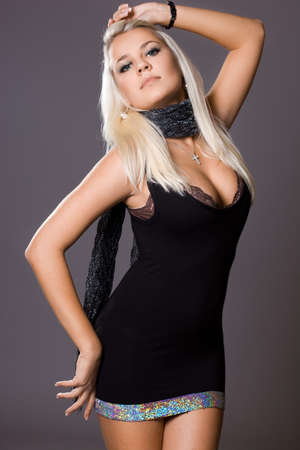 fashionable woman in little black dress  photo