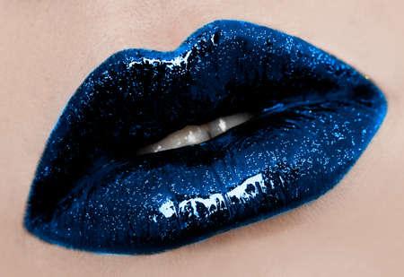 close-up of beautiful womanish lips