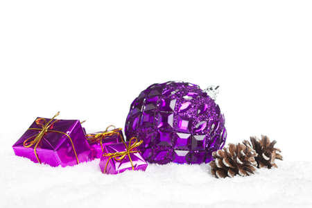 gift boxes with pinecone and ball photo