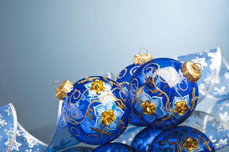 Christmas decoration balls with ribbon photo