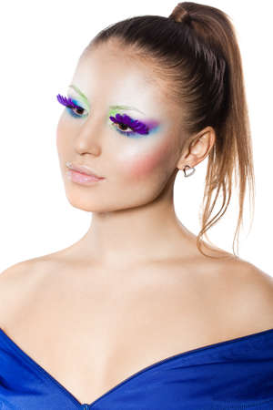 fashionable woman with art visage photo