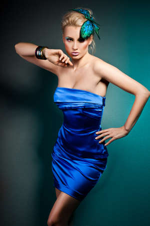 elegant fashionable woman in blue dress Stock Photo - 9110820