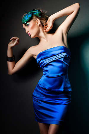 elegant fashionable woman in blue dress Stock Photo - 9110851