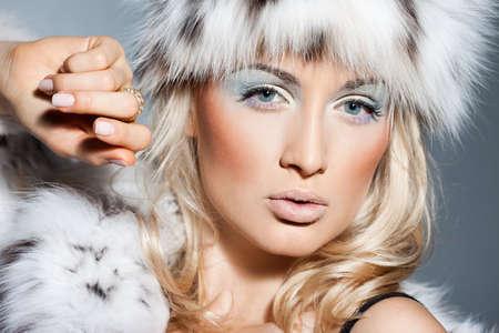 elegant fashionable woman in fur Stock Photo - 9110834