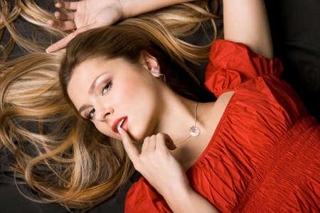 pretty girl in red dress photo