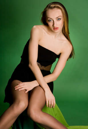 pretty girl on green background photo