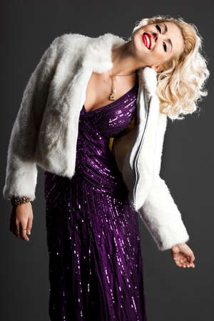 beautiful fashionable woman in violet clothes Stock Photo - 9981692