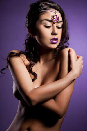 elegant fashionable woman with violet lips Stock Photo - 10823735