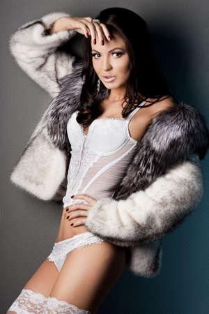 elegant fashionable woman in fur  photo