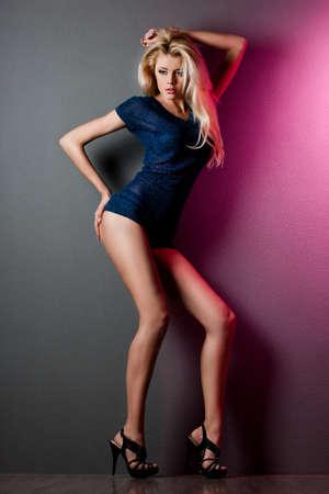 elegant fashionable woman in blue dress Stock Photo
