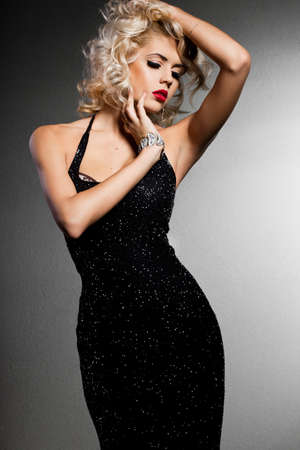 elegance fashion girls look sensuality young: elegant fashionable woman in black dress