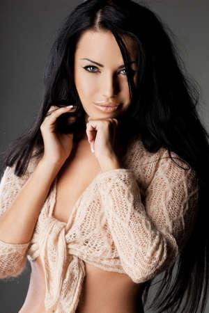 elegant fashionable woman with long hair  photo
