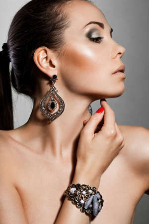 elegance fashion girls look sensuality young: elegant fashionable woman with silver jewelry