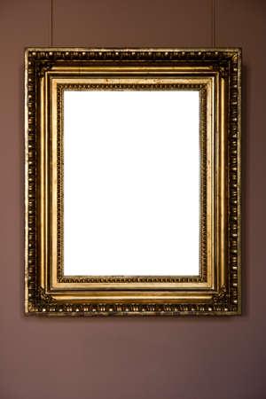 gold antique frame on pink background