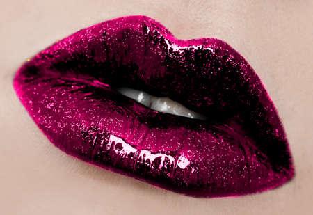 close-up of beautiful womanish lips photo