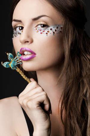 elegant fashionable woman with strasses photo