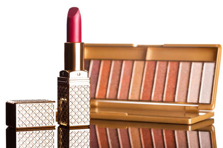 red lipstick with brown eyeshadows isolated photo