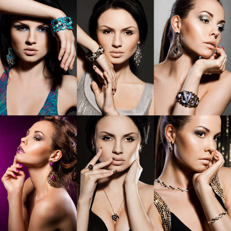 elegance fashion girls look sensuality young: elegant fashionable woman with jewelry