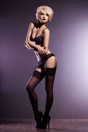 elegant fashionable woman in lingerie Stock Photo