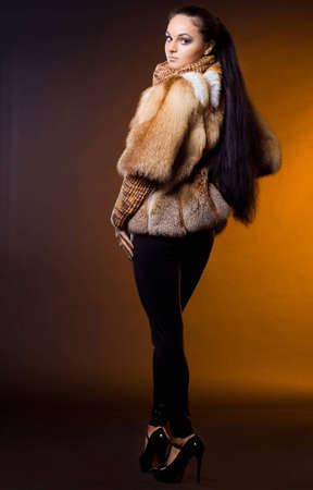 beautiful woman in a fur coat Stock Photo - 11455342