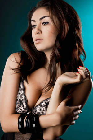 elegant fashionable woman in underwear photo