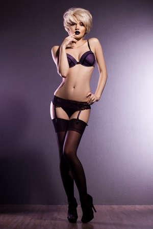 elegant fashionable woman in lingerie photo